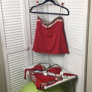 Lucky Brand Bathing Suit Tankini plus Bikini Top L